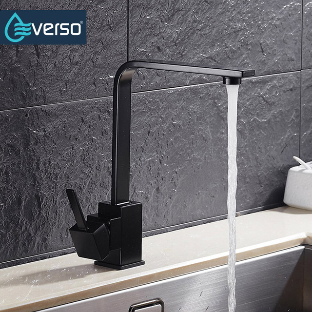 Everso Kitchen Sink Faucet 360 Degree Swivel Taps Faucets Black Mixer Tap Torneira