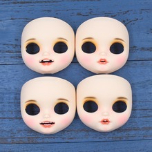 blyth doll icy customized face open mouth with teeth tongue white skin lips carves eyebrow face with backplate and screws