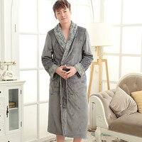 En Vente Amoureux De Luxe Fourrure Douce comme de la Soie Peignoir Hommes Classique longue Flanelle Hiver Chaud Kimono Peignoir Mâle Robe de Chambre Robes