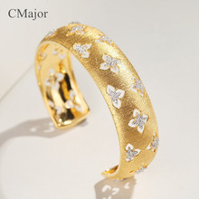 CMajor sterling silver jewelry hollow four-leaf clover bangles elegant palace St. Patricks Day Gift for women
