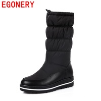 EGONERY Mid Calf Boots High Quality Warm Down And Genuine Leather Adjustable Round Toe Black Platform