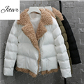 2017 New Winter Women's Cotton Padded Girl Personality Short Coat Lamb Two Color Slim Warm Solid Hooded Jacket Winter Hot Sale