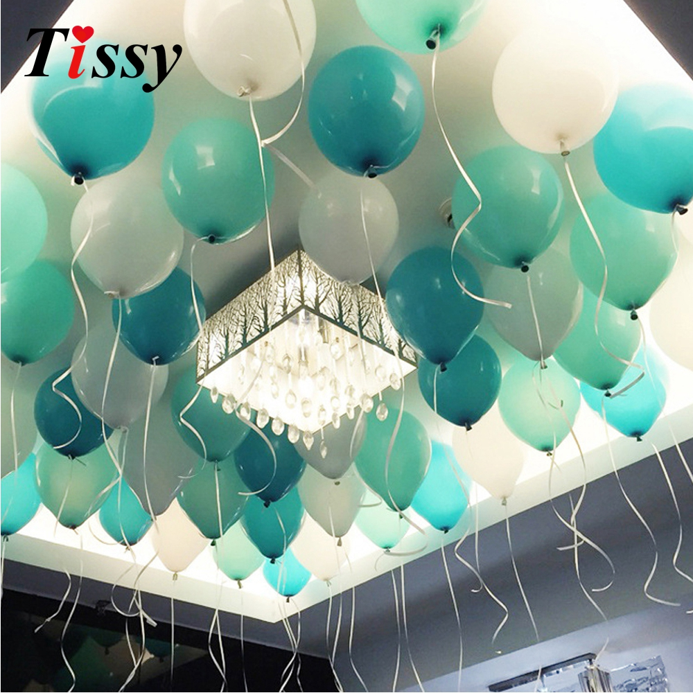 20pcs 10inch Balloons White Amp Blue Amp Tiffany Colors Balloons