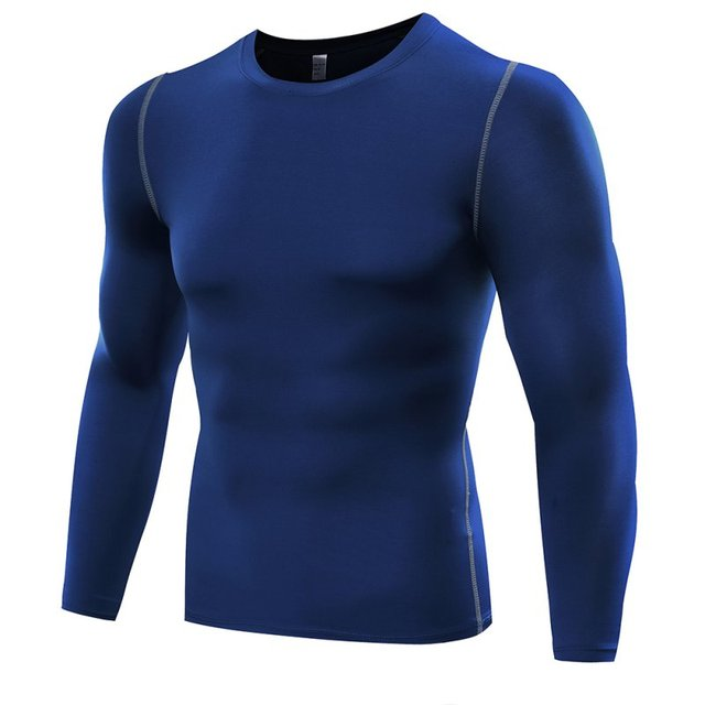 2018 New Quick Dry Men Compression Sports Shirt Long Sleeves Tshirt Fitness Clothing Solid Colorquick Dry Bodybuild Crossfit 3