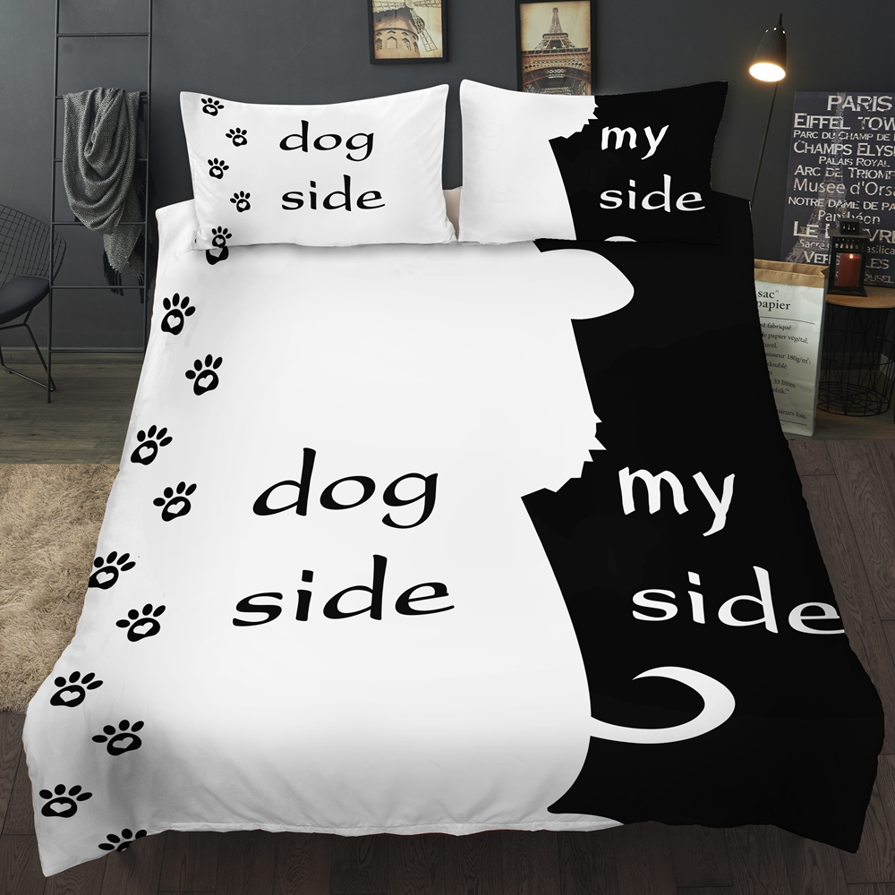 Bonenjoy Black And White Color Bedding Set Couples Bedding Dog Side My Side King Queen Single Double Twin Bedding Set Full Size