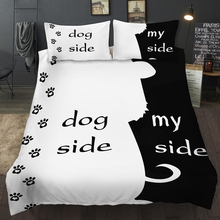 Bonenjoy preto e branco cor conjunto de cama casais cão lado meu lado rei rainha único duplo gêmeo conjunto cama tamanho completo