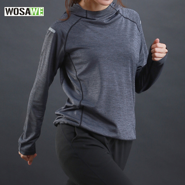 T Shirt with hooded for Women Sports Dry Quick Fitness Gym Shirt Ladies Long Sleeve T-shirt Jogging Jogger Tops