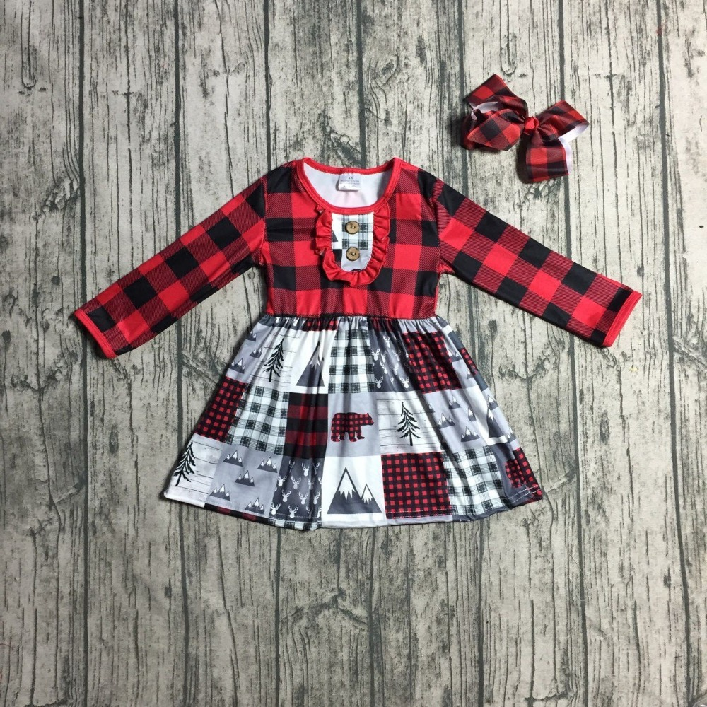 890ef8f691205 new Christmas winter baby girls clothes children red black plaid dress  cotton button ruffle boutique outfits kids wear match bow-in Clothing Sets  from ...