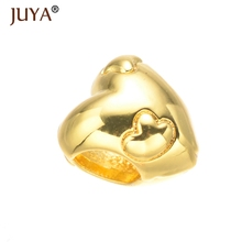 Gold Silver Rose Gold Footprint Heart Charm Big Hole Beads Fit Original Pandor Bracelet Pendants DIY Jewelry Gift berloque(China)
