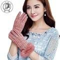 PTAH Women Winter Wool Gloves Rabbit Fur Bow Wrist Iglove Ladies Luxury Outdoor Thickened Plaid Soft Mittens Luvas Guantes 9839