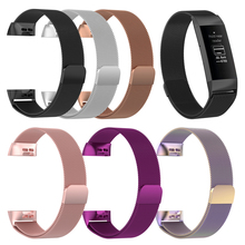 Wristband Metal Stainless Steel Milanese Magnetic Loop Band Strap For FitBit Charge 3 Smart Watch S M Size Optional