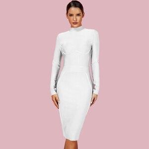 Image 2 - Ocstrade נשים מסיבת חג המולד 2019 חורף Vestido חדש תחבושת שמלות גבוהה צוואר סגול ריון סקסי תחבושת שמלה ארוך שרוול