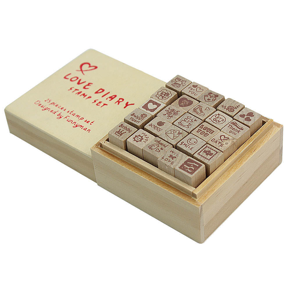 1 box 25pcs love heart diary multi patterns wooden stamp rubber for card making scrapbooking