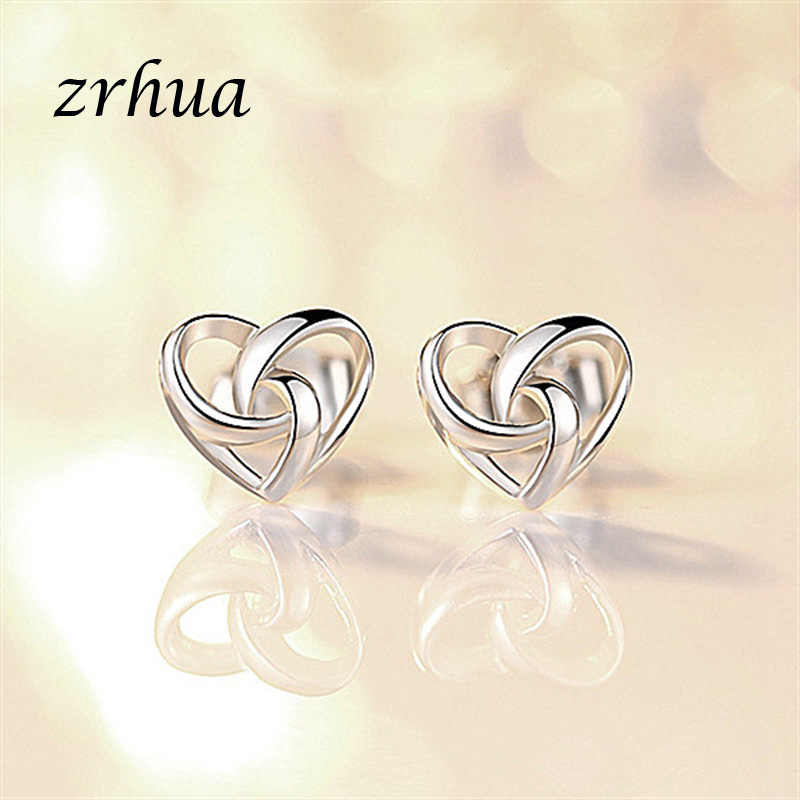 ZRHUA 925 Sterling Silver Star Simple Stud Earrings For Girls Women Gift Personalized Hollow Heart Sweet Wedding Party Jewelry