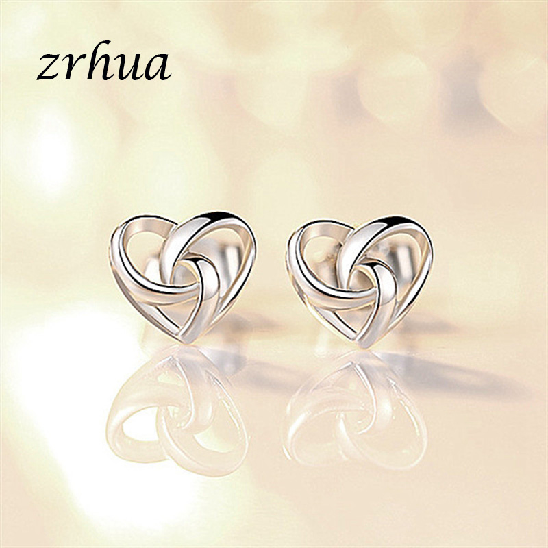 ZRHUA Silver Color Star Simple Stud Earrings For Girls Women Gift Stylish Hollow Heart Sweet Wedding Party Jewelry