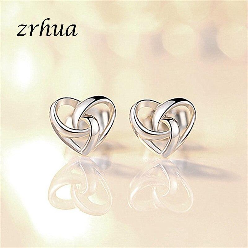 ZRHUA Silver Color Star Simple Stud Earrings For Girls Women Gift Stylish Hollow Heart Sweet Wedding Party Jewelry