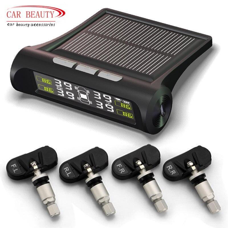 Новинка 2018 года автомобильных шин давление мониторинга системы TPMS солнечный Мощность Беспроводной ЖК дисплей с 4 внутренних сенсор авто