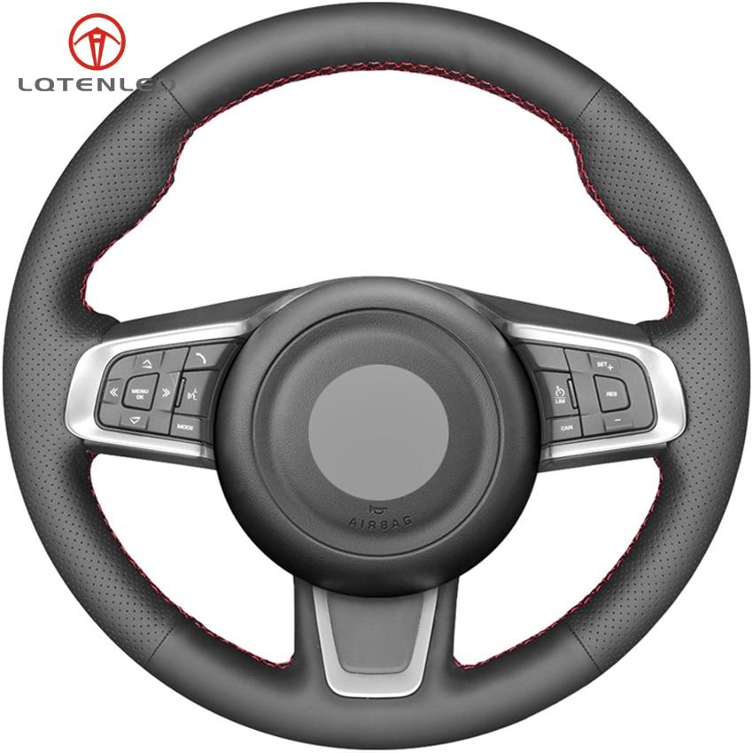 LQTENLEO Black Genuine Leather Car Steering Wheel Cover For Jaguar XEL XFL 2017 2019 XE 2015