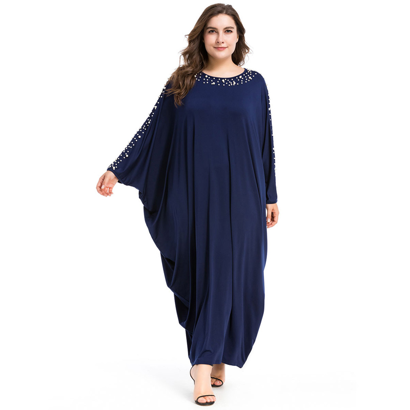 Arab Elegant Loose Abaya Kaftan Islamic Fashion Beading Muslim Dress Clothing Design Women Bat Sleeve Dubai Abaya Robe Navy Blue