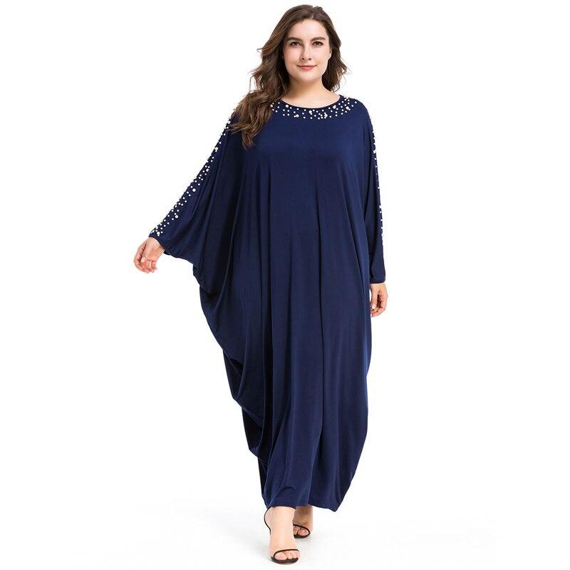 Arabe élégant lâche Abaya caftan mode islamique perles Robe musulmane conception de vêtements femmes manches chauve-souris dubaï Abaya Robe bleu marine