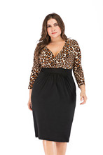 2019 New v-neck women dress cropped sleeve leopard dresses sexy plus size