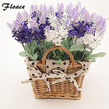 Free shipping Home fashion rattan square basket artificial flower overall floral silk flower handmade living room table lavender цена 2017