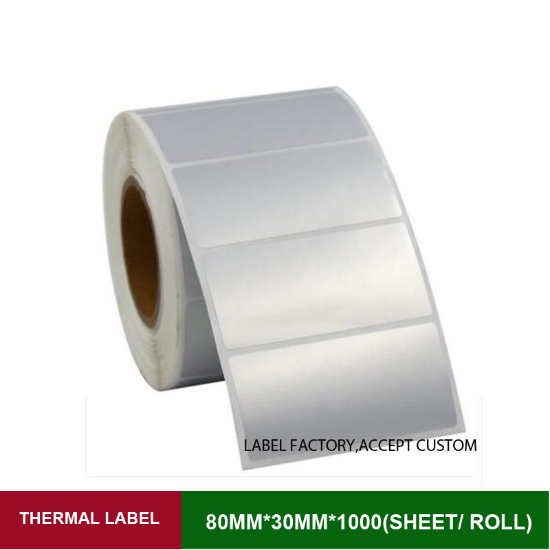w*h80*30mm*1000pcs per roll quality PET thermal transfer sticker label accept customized order with other size and print logo brown genuine leather menu holder restautant menu cover money receipt high quality accept customized order print your own logo