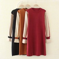 Plus Size XXXL Loose Knitted Fabric Women Winter Dress 2018 Casual Ladies O Neck Long Sleeve