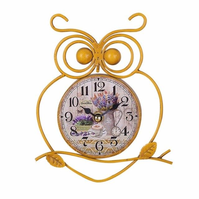 European Style Owl Shape Wall Hanging Clock Vintage Single Side Mounted Battery Ed Home