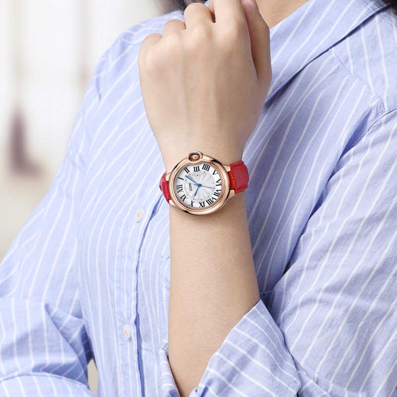DOM 腕時計女性ブランドの高級ファッションカジュアル防水革女性ゴールデン時計 relojes womenes ドレス時計 G-1068
