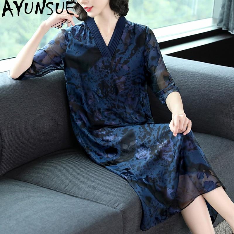 Femme soie robe 2019 printemps été Vintage élégant décontracté robe Midi femmes vêtements dames robes de grande taille Vestidos MY2446