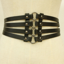 Vintage Womens Punk Rivets Black Wide Waist PU Leather Belt Elastic Hollow Out Band Slim High Body Belts For Ladies