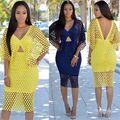 Womens Sexy Yellow Batwing Sleeve V-Neck Hollow Clubwear MD-Long Dresses