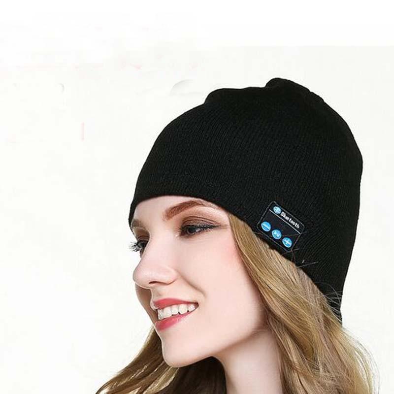 XEONGKVI Europe America Wireless Bluetooth Music Knitted Cap Autumn Winter Hats For Women Men Brand Pure Color   Skullies     Beanies