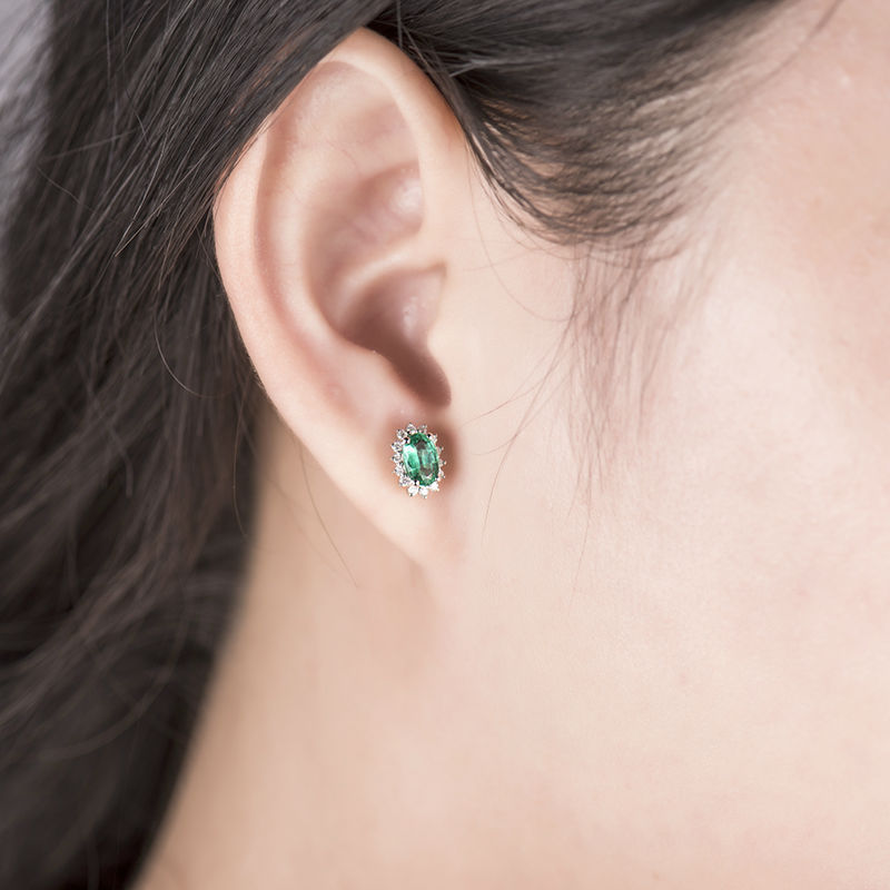 100 Natural Green Stone Earring Solid 18k White Gold Oval Cut 4x6mm Emerald Stud Earrings For Women We042 In From Jewelry