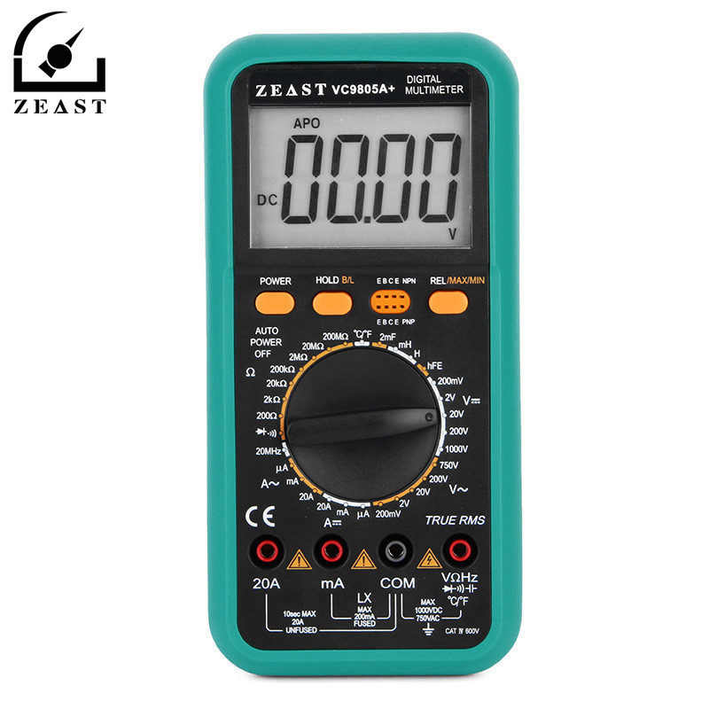 ZEAST VC9805A+ 3 1/2 Digital Multimeter Tester 2000UF Manual Range LCD Tester Meter Electric Leads Temperature Capacitance 1 pair silicone wire universal probe test leads pin for digital multimeter needle tip multi meter tester probe 20a 1000v