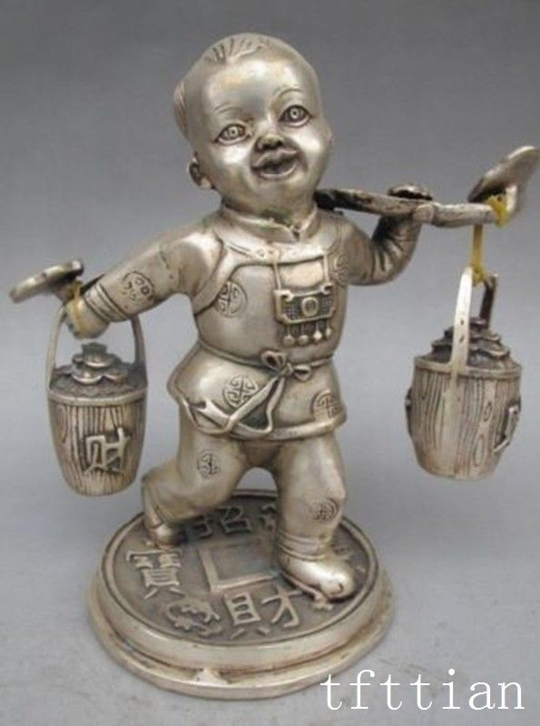 Crafts statue chinese Superb silver copper child pick two barrels Wealth Good luck statue halloweenCrafts statue chinese Superb silver copper child pick two barrels Wealth Good luck statue halloween
