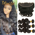 7A Grade Unprocessed Malaysian Virgin Hair Bundles With Lace Frontal Body Wave 13*4 Lace Frontal Closure With Bundles On Sales