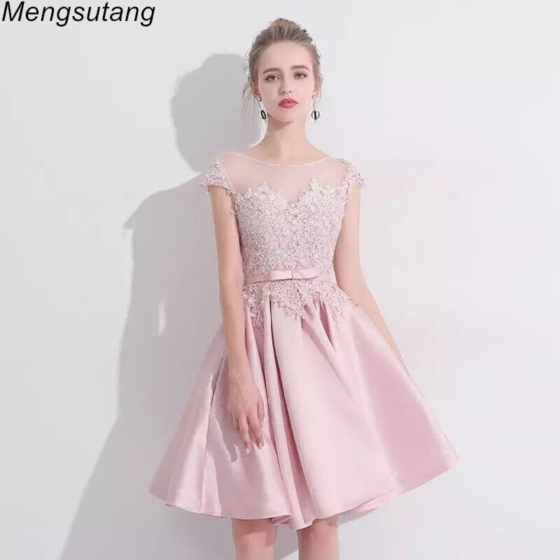 Robe de soiree Pink font b short b font A Line Lace up With Appliques Evening