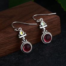 wholesale natural moonstone 925 Silver red stone earrings for women fashion jewelry accessories Gifts