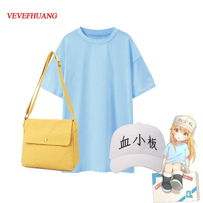 VEVEFHAUNG Cells At Work Cosplay Costume Platelet Cosplay Hataraku Saibou Women Costume Anime T Shirt Shorts Hat For Girl Dress