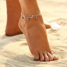 Multilayer Beach Blue Eye Women's Anklet