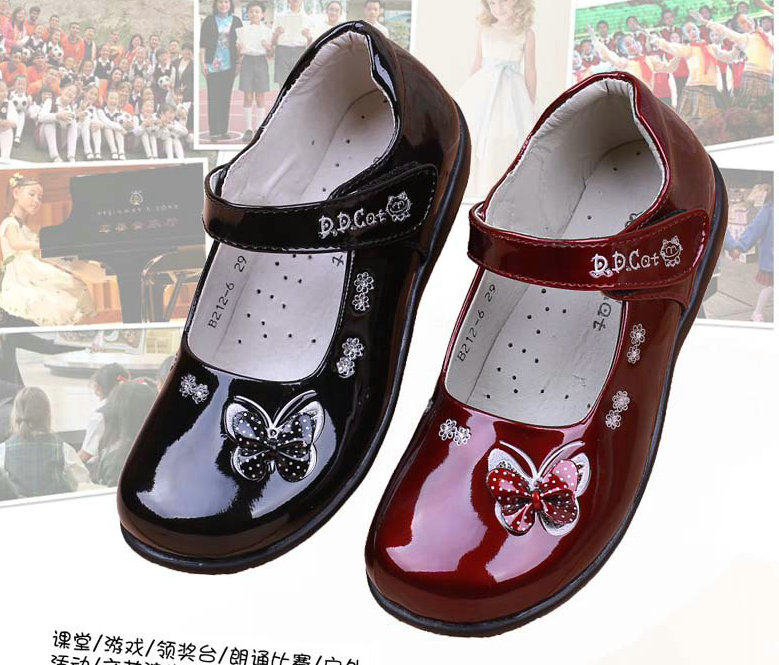 New Girls Children Leather Shoes Butterfly Student School Princess Shoes Flats Kids Sneakers Bowtie For Kids Baby Girls