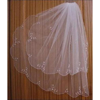 2 layer White Ivory Beaded Edge sequins Short Bridal Wedding Veil with comb New