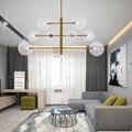 Золотая стеклянная пеллетная люстра Северная Европа пост современная простая гостиная изысканный светильник магазин одежды 8 огней