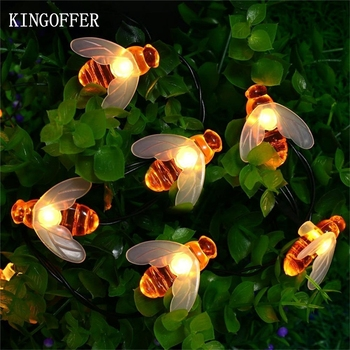 Solar Outdoor String Light Bee Shape Fairy Garland Garden Summer Waterproof Patio Christmas Holiday Lighting 5m 20led 6.5m 30led 5m 20led 10m 35led big ball string light indoor outdoor decorative fairy lighting for christmas trees patio party