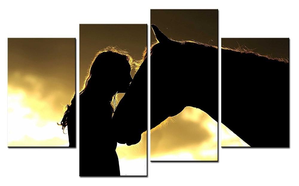 4 panel Tier Malerei Pferde Rahmen Leinwand Bild Running Horse ...
