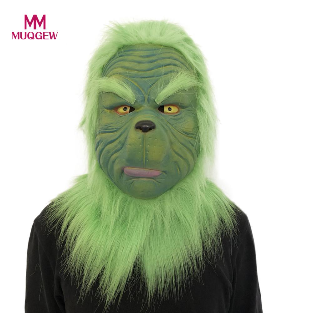 Hot Sale Cosplay Christmas Grinch Mask green fur Melting Face Latex Costume Collectible Prop Scary Mask Toy Game Dolls GiftParty