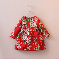 New Spring Autumn Baby Girl Dress Chinese Flower Dress 2015 Fashion Kids Clothes Long Sleeve Children