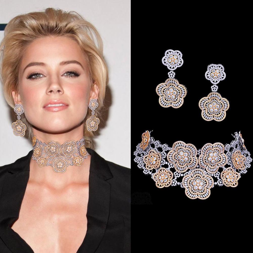 GODKI Super Luxury Floral Flower Women Wedding Cubic Zirconia Choker Necklace Earring Dubai Jewelry Set Jewellery